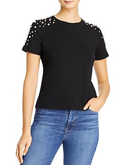 Lucy Paris - Pearl-Embellished T-Shirt - 100% Exclusive