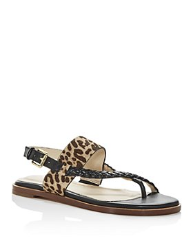 Cole Haan - Women's Anica Leopard Print Calf Hair Slingback Thong Sandals