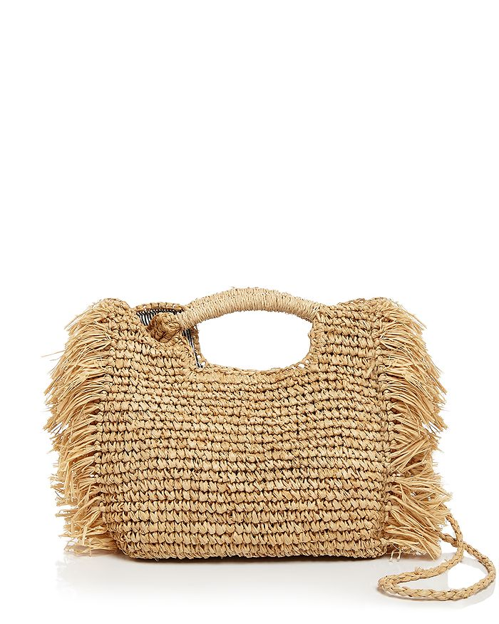 Aqua Fringed Raffia Crossbody Bag - 100% Exclusive In Natural/silver