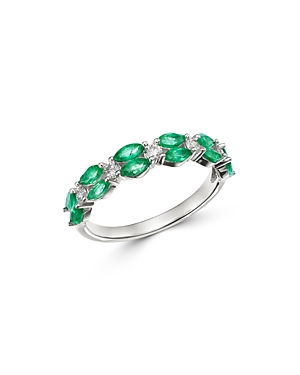 Bloomingdale's Emerald & Diamond Band in 14K White Gold - 100% Exclusive