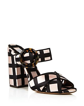 Tabitha Simmons - Women's Minna Embellished Velvet High Block Heel Slide Sandals