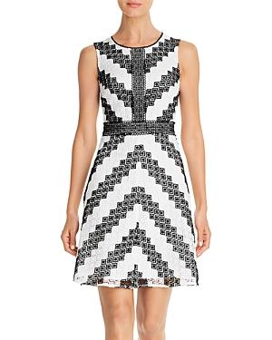 Karl Lagerfeld Paris Sleeveless Chevron Lace Dress-Women
