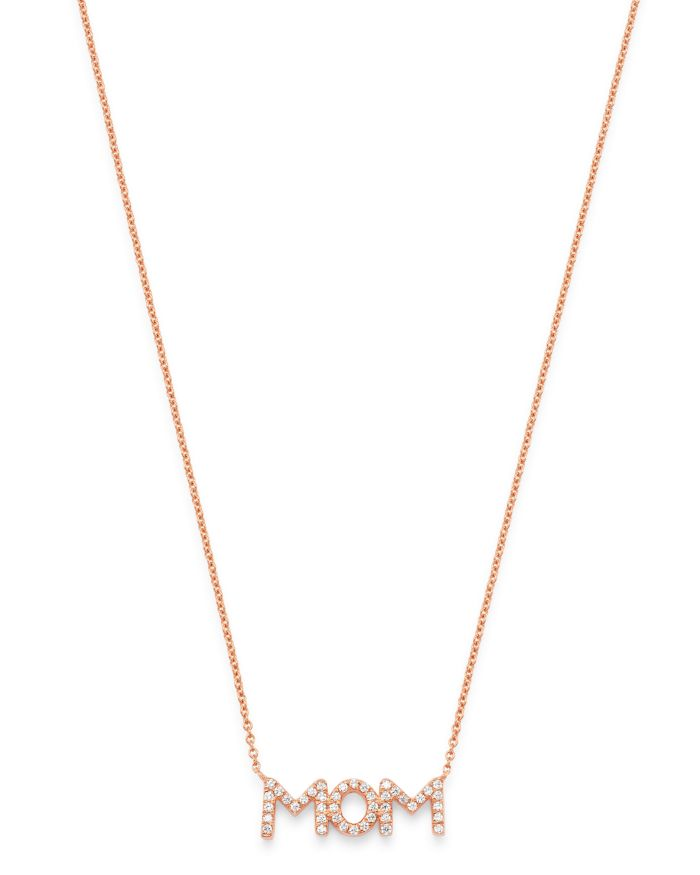 """Bloomingdale's Diamond Mom Pendant Necklace in 14K Rose Gold 17"""", 0.08 ct. t.w. - 100% Exclusive  