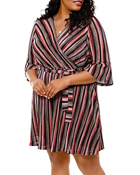 Belldini Plus - Striped Fit-and-Flare Faux-Wrap Dress