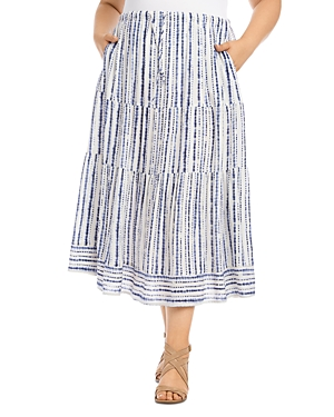 Karen Kane Plus Tie-Dyed Striped Tiered Midi Skirt