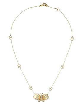 Gucci - 18K Yellow Gold Le Marche des Merveilles Diamond Butterfly Pendant Necklace, 15""