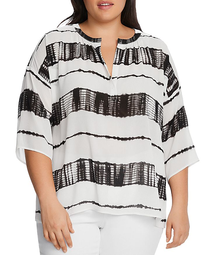 VINCE CAMUTO Plus - Split-Neck Shibori Striped Top