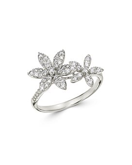 Bloomingdale's - Diamond Double Flower Statement Ring in 14K White Gold, 0.55 ct. t.w. - 100% Exclusive