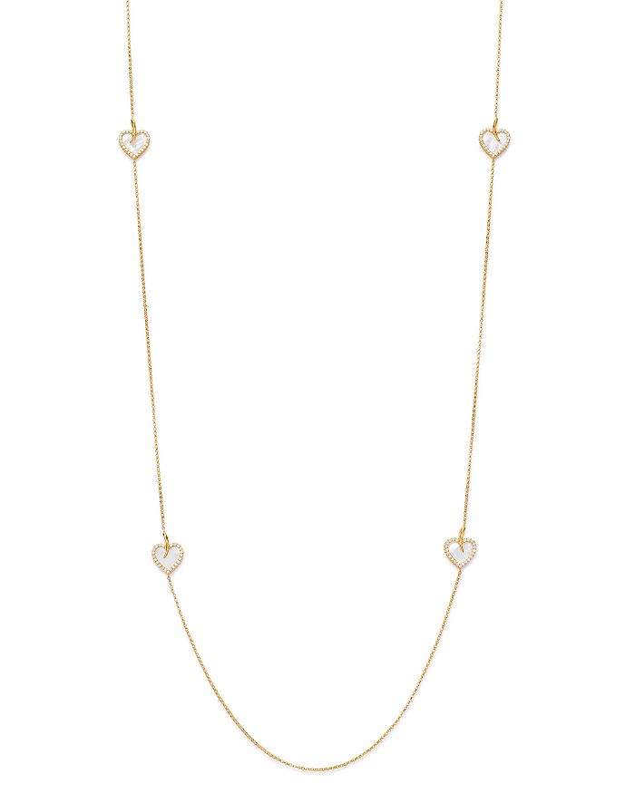 """Roberto Coin - 18K Yellow Gold Diamond Heart Station Necklace, 31"""" - 100% Exclusive"""