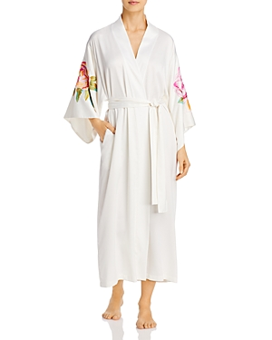Natori Floral Embroidered Long Wrap Robe-Women