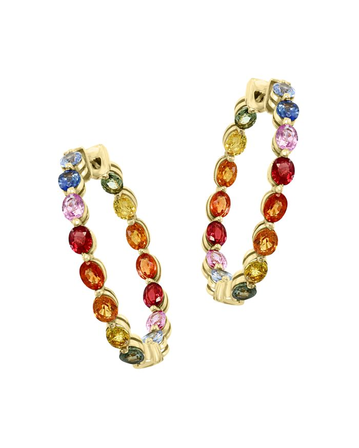 Bloomingdale's Watercolor Collection Rainbow Sapphire Inside Out Hoop Earrings in 14K Yellow Gold - 100% Exclusive    Bloomingdale's