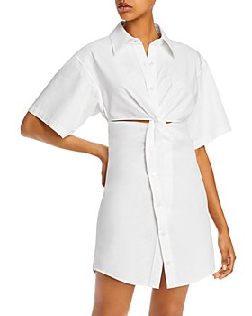 alexanderwang.t - Crisp Cotton Poplin Mini Shirtdress