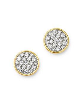 Bloomingdale's - Diamond Pavé Disc Stud Earrings in 14K Gold - 100% Exclusive
