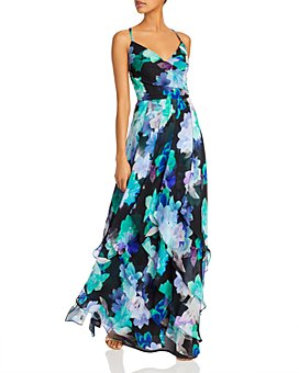 AQUA - Printed Chiffon Gown - 100% Exclusive