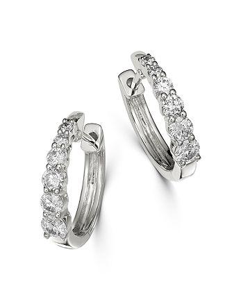 Bloomingdale's - Diamond Graduated Hoop Earrings in 14K White Gold, 0.50 ct. t.w. - 100% Exclusive