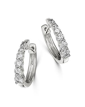 Bloomingdale's Diamond Graduated Hoop Earrings in 14K White Gold - 100% Exclusive