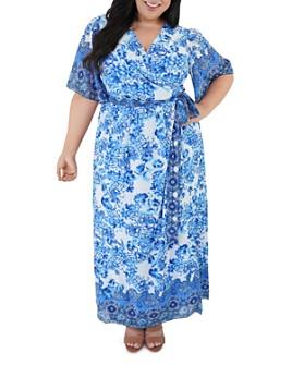 Maree Pour Toi Plus - Border Printed Maxi Dress