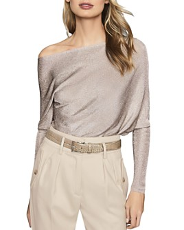 REISS - Isla Draped Metallic-Knit Top