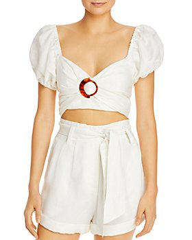 Significant Other - Solace Puffed-Sleeve Cropped Top