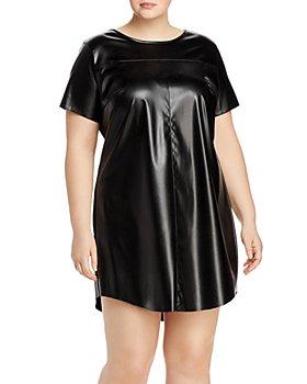 AQUA Curve - Faux-Leather T-Shirt Dress - 100% Exclusive