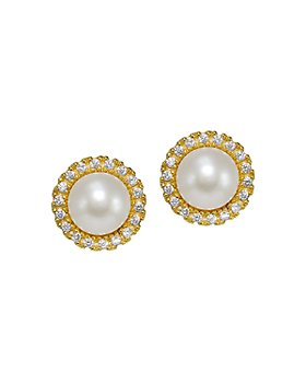 AQUA - Cultured Freshwater Pearl & Cubic Zirconia Halo Button Earrings - 100% Exclusive