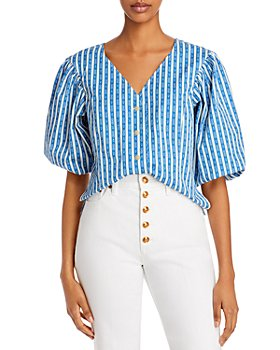 Tory Burch - Gemini Link Puff-Sleeve Cotton Top