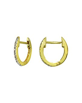 Bloomingdale's - Diamond Oval Huggie Hoop Earrings in Gold-Plated Sterling Silver or Sterling Silver - 100% Exclusive