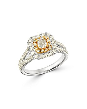 Bloomingdale's - Diamond Halo Engagement Ring in 18K Yellow & White Gold - 100% Exclusive