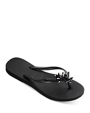Women's Slim Crystal Mineral Flip Flop Sandals