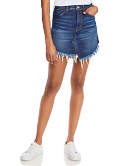 Free People - Frayed-Hem Jean Skirt in Indigo Blue