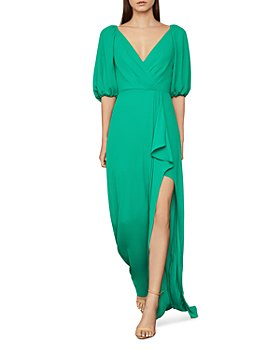 BCBGMAXAZRIA - V-Neck Ruffled Gown