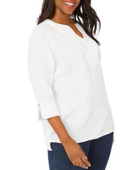 Foxcroft Plus - Vena Cotton Gauze V-Neck Tunic
