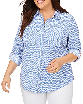 Foxcroft Plus - Zoey Chic Chevron Print Moisture-Wicking Shirt With UPF