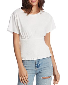 1.STATE - Smocked-Waist Knit Top