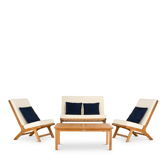 SAFAVIEH - Chaston 4-Piece Outdoor Living Set with Accent Pillows