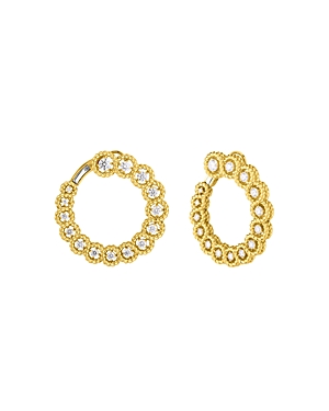 Roberto Coin 18K Yellow Gold New Barocco Diamond Front to Back Hoop Earrings-Jewelry & Accessories