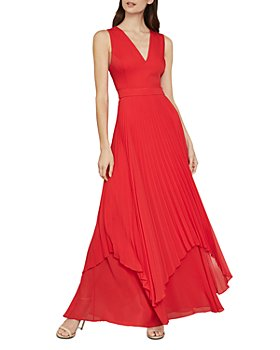BCBGMAXAZRIA - Pleated Satin Cutout Gown