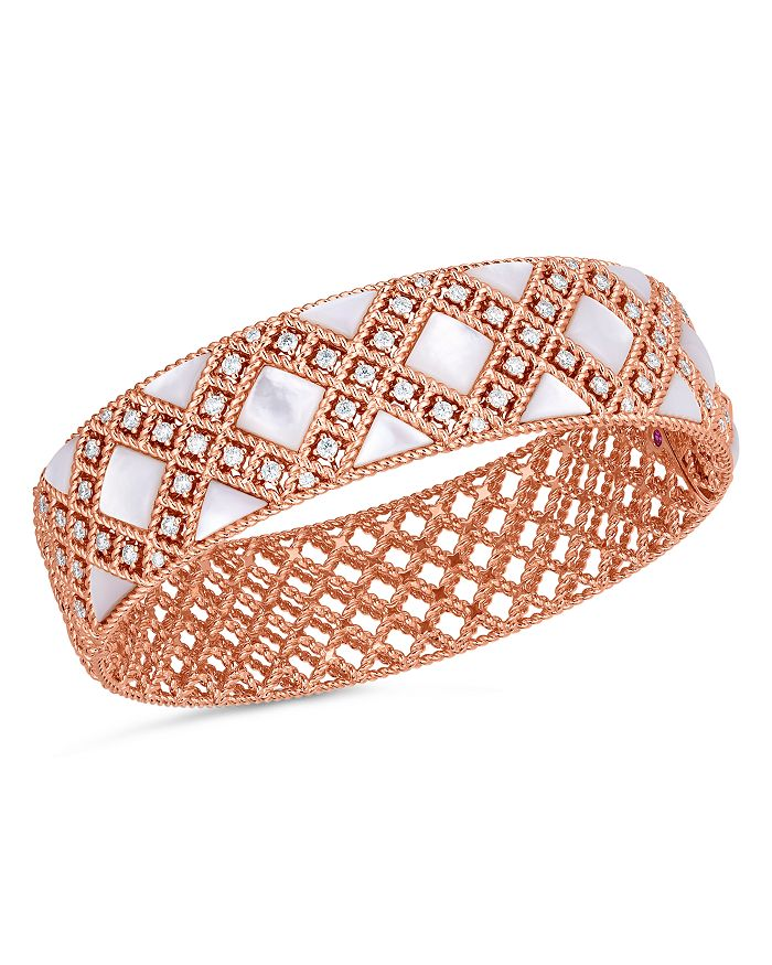 Roberto Coin - 18K Rose Gold Palazzo Mother-of-Pearl & Diamond Bangle Bracelet