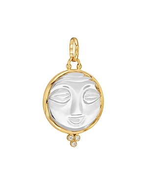 Temple St. Clair 18K Yellow Gold Large Carved Crystal Moonface Pendant with Diamonds