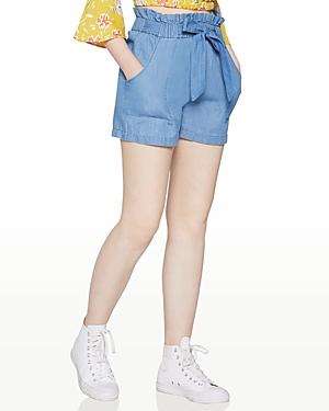 BCBGeneration Tie-Waist Cotton Paper Bag Shorts