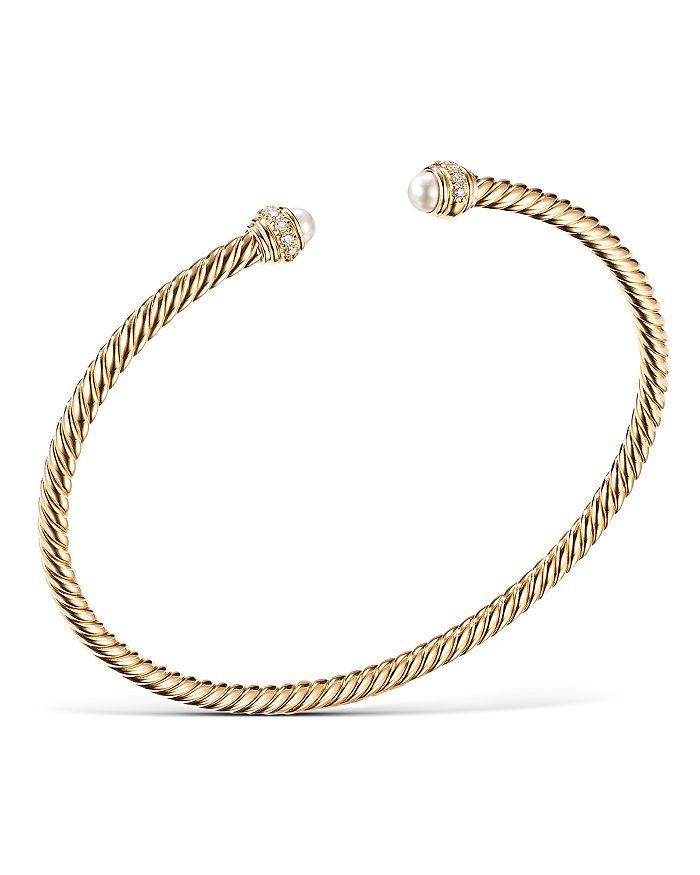David Yurman - 18K Yellow Gold Cable Spira Bracelet with Pearls & Diamonds