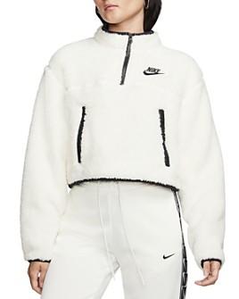 Nike - Quarter-Zip Cropped Fleece Sweatshirt