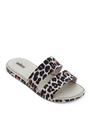 women's leopard slide sandals