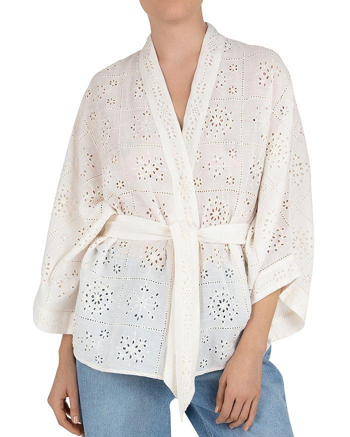 Gerard Darel Naelie Eyelet Embroidered Kimono In White