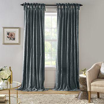 "Elrene Home Fashions - Korena Tie-Top Crushed Velvet Window Curtain, 52"" x 84"""