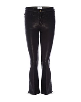FRAME - Le Crop Mini Boot Leather Jeans in Noir