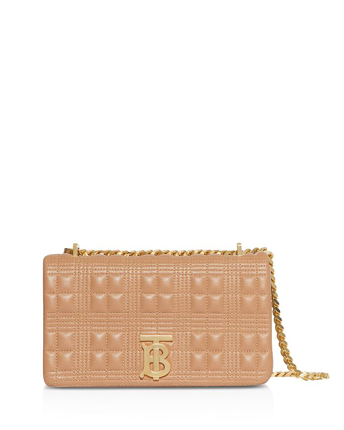 Burberry Lola Small Quilted Leather Shoulder Bag In Camel/gold
