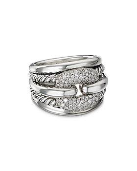 David Yurman - Thoroughbred® Cushion Link Ring with Diamonds