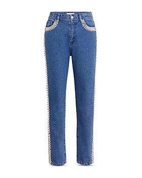 CHRISTOPHER KANE - Embellished Straight Leg Jeans in Blue