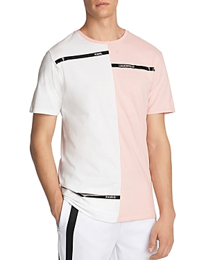 Karl Lagerfeld Paris Cotton Color Block Logo Graphic Tee-Men